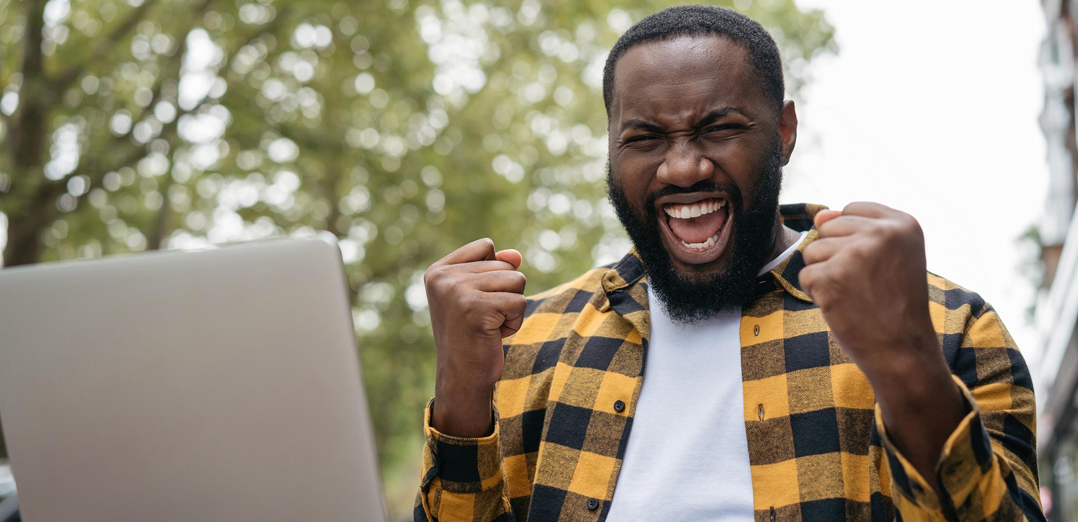 emotional man wins online